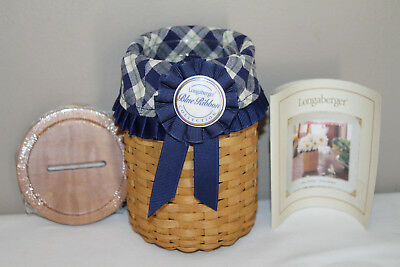 2003 Longaberger Blue Ribbon Pride Basket, Tie-On, Protector, New Lid, Fabric