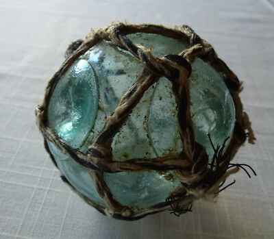 """Japanese Glass Fishing Float With Net, Diameter 3.34"""", Double Button Seals."""
