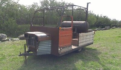 smoker trailer bbq wood 50's Jeep Willys doors, grill comercial food truck