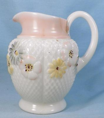 Cosmos Creamer Milk Glass Enamel Flowers EAPG Consolidated Lamp Co Antique As Is