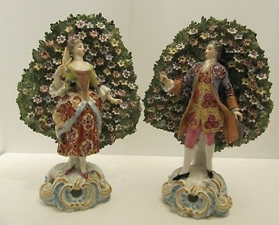 Early Porcelain Figures Pair Bocage Gold Anchor Chelsea 18th century antique