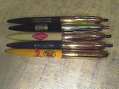 Vintage Lot Of 5 Advertising Tire Company Double Click Ball Point Pens !!
