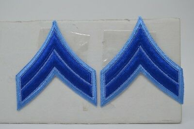 Pair CORPORAL CPL. Police Security Chevrons Stripes Patch Blue On Blue