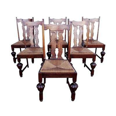Antique Oak Set of Six French Jacobean Fiddle Splat Style Dining Chairs