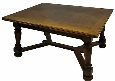 Large Antique French Country Oak Refectory Expandable X-stretcher Dining Table