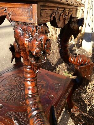 "Carved Figural Griffin 2 Tier End/Side Table 25"" Tall Winged Walnut Griffins 19C"