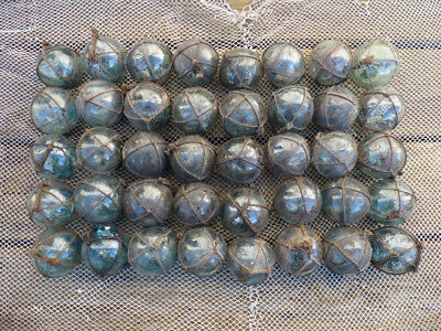 """#4 - Japanese Round Glass Fishing Floats Most W/ Netting, 2"""", Lot 40, Grubby"""