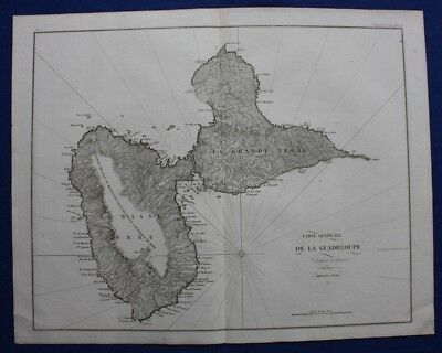 Original antique map, GUADELOUPE, Napoleonic Wars, Ambroise Tardieu, c.1820