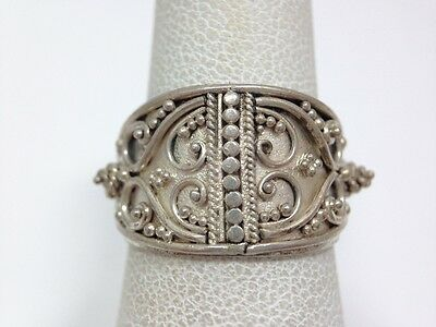 Wide Filigree Bali Design Band Ring Size 6 1/4 Sterling Silver FMGE Thai 6.25