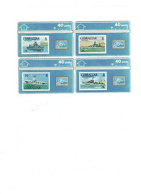 8 phone cards   issued by Gibralter GNC (Warships)