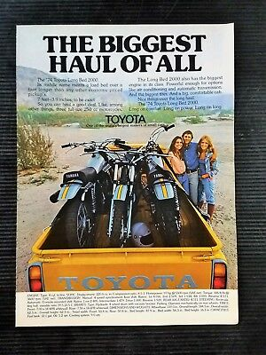 Original 1974 Toyota Long 2000 Truck with Yamaha Motorcycles Full Page Color Ad
