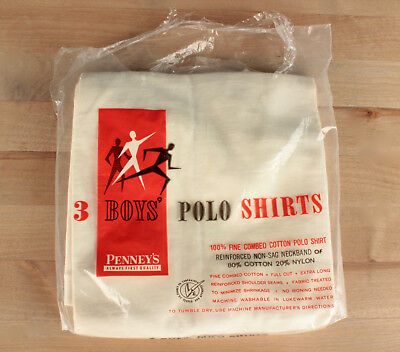Vtg. NOS 1960s Penny's Boy's Polo Tshirt Size 14 Chest 30'' #622 60s T-Shirt