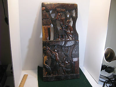 """African Tribal Art Wall Plaque Solid Wood Hand Carved 25"""" X 12"""""""