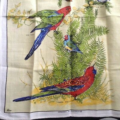 "Unused AUSTRALIAN BIRDS Souvenir TEA TOWEL by ROSS Linen blend 29.5x19.5"" LOVELY"