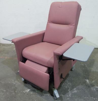 Champion Manufactuing Wing-Back Transport Recliner with Side Tables - Tearose