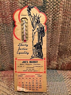 Vintage Antique Joe Meat Grocery Store Delivery Market Thermometer Calendar Sign