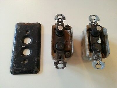 Vintage Ceramic Push Button Light Switches & Cover Plate