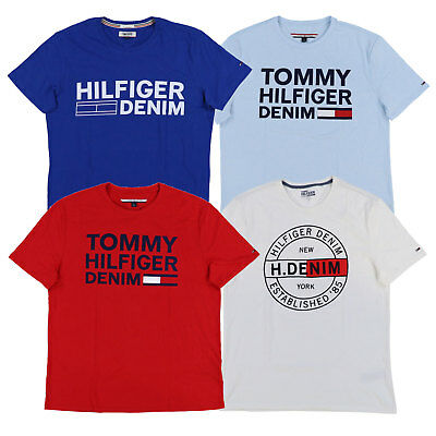 ec0850498 Tommy Hilfiger Denim Mens T-Shirt Crew Neck Graphic Tee Short Sleeve Flag  New