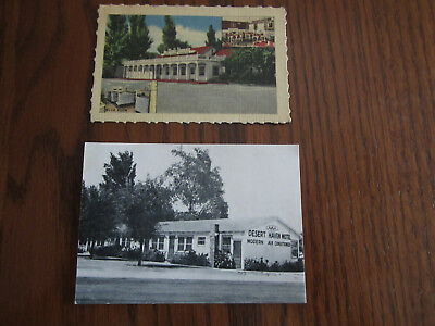 2 Business Cards 1940's, Desert Haven Motel & Doll House (Duncan Hines Family)