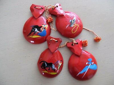Two Pairs of Vintage Spanish Castanets Bull Fighter Bull Good Condition Souvenir