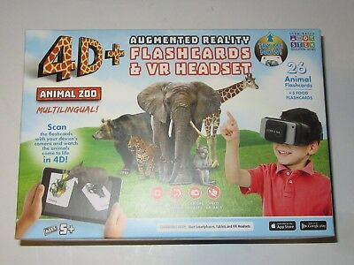 BRAND NEW 4D Utopia 360° Animal Zoo Augmented Reality Flashcards & VR Headset
