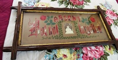 Antique Embroidery Punch Paper Absent But not Forgotten 1879 FRAME Sampler BABY