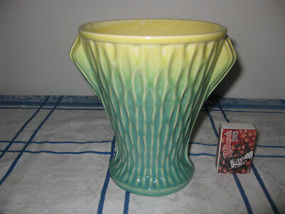 ART DECO CERAMIC VASE GREEN/YELLOW unmarked FLOWERS DECORATIVE