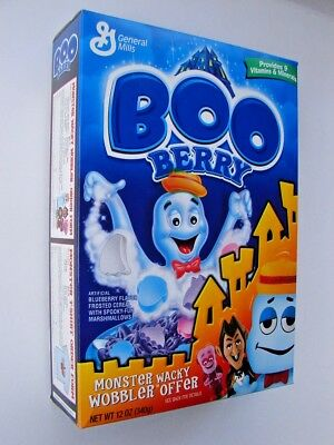 General Mills 2003 Boo Berry UNOPENED Cereal w/Wacky Wobbler offer 12oz FULL BOX