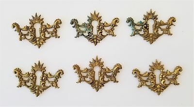 LOT vintage antique 6 Metal SKELETON KEY HOLE PLATES set victorian hardware arty