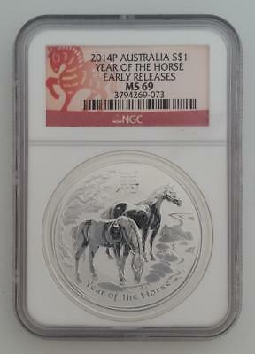 2014-P 1ozt SILVER AUSTRALIA $1 Year of The Horse NGC MS69 Early Releases  L1116