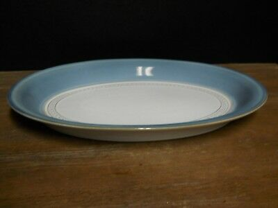 "12"" Oval  Serving Platter Denby Castile Pattern England Blue Tan Multi Color"