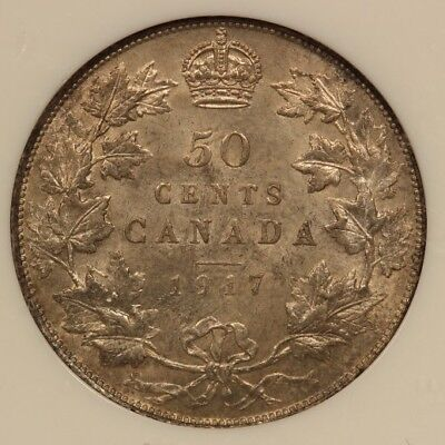 Canada 50 Cents 1917 Silver NGC MS 62