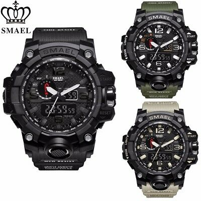 Mens Military Watch by SMAEL, Meters 50 WR Analog Digital Alarm Army Sport Watch