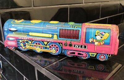 SPARKY CHOO CHOO Vintage Tin Toy Train Made In Japan