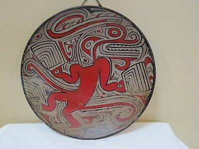 Antique Red Ware Dish Artist signed from Panama, Red and Brown