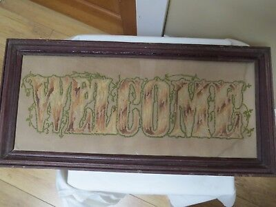 """Antique Punch Paper Motto Sampler, """"Welcome"""""""