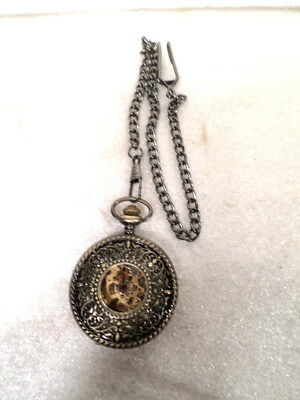 "Vintage Skeletonized Demi Pocket Watch With 10"" Chain"