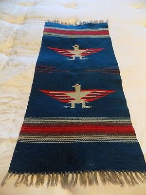 Small Vintage Indian Weaving Wall Hanging Rug Throw  Free Ship