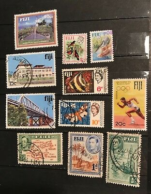 Fiji postage stamps lot of 11  old         F