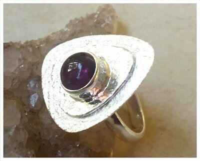 925 Sterling Silver PURPLE AMETHYST Semi Precious GEMSTONE RING SZ P  - US 7 3/4