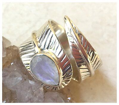925 Sterling Silver Faceted MOONSTONE Semi Precious GEMSTONE RING SZ L1/2 - US 6