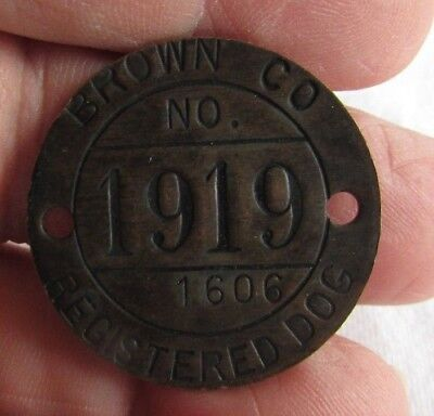 1919 Brown Co (Indiana) Dog Tax Tag - 1606