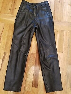 vintage 1980s HIGH WAISTED black leather pants I. MAGNIN size 6 straight cut