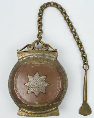 Rare Antique Ornate Betel Nut Opium Metal Snuff Box Case W/ Lime Spoon On Chain