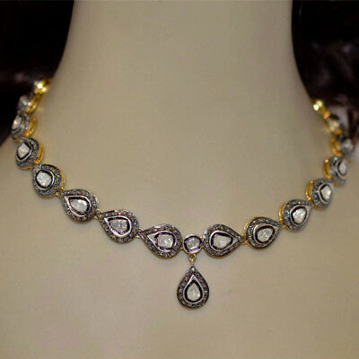 Vintage 11.99cts Real Rose Antique Cut Diamond Jewelry Silver Gorgeous Necklace