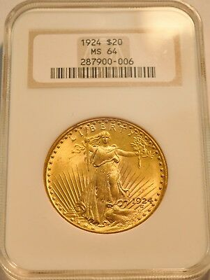 1924 $20 NGC MS 64 Gold St. Gaudens Double Eagle, Old Fatty Holder, PQ Saint Unc