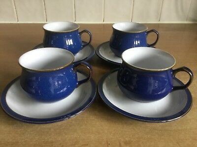 Denby Imperial Blue 4 x Cups And Saucers