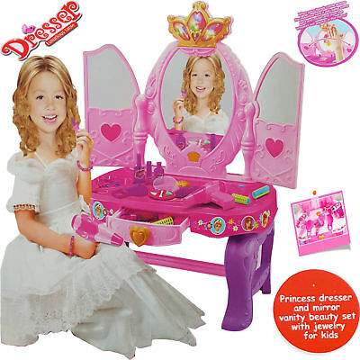 Kids Dressing Mirror Table Vanity Girls Toy Makeup W/stool Children Xmas Gift