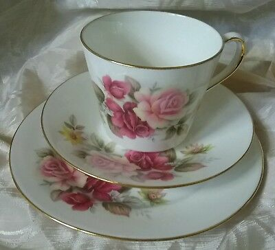 Lovely Vintage Queen Anne Bone China Rose Patt #8517 Trio - 2 Sets Available