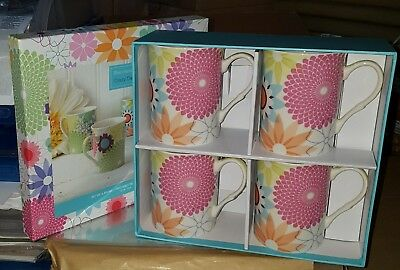 Portmeirion - Crazy Daisy  Set Of Four Mugs  - New - Boxed - Cr8581-Xg